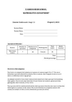Senior School General Assignment: Statistics