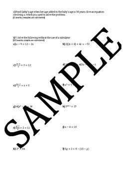 Senior School Mathematics Assignment