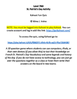 Senior St. Patrick's French Activity: Kahoot Quiz