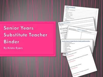 Senior Years Substitute Teacher Binder