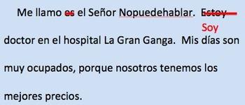 Señor Nopuedehablar   __Present tense verbs