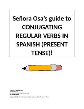 Señora Osa's Conjugation Guide Spanish Regular Verbs