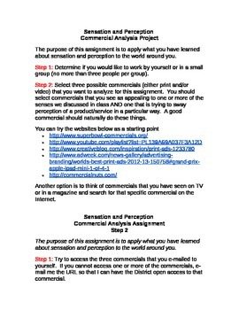 Sensation and Perception - Commercial Analysis Project