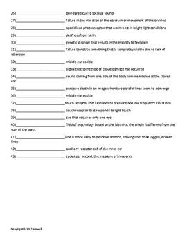 Sensation and Perception Part I Quiz or Worksheet for Psychology