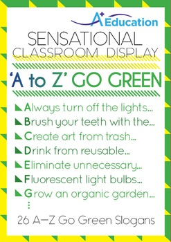 Sensational Classroom Display - 'A to Z' Go Green