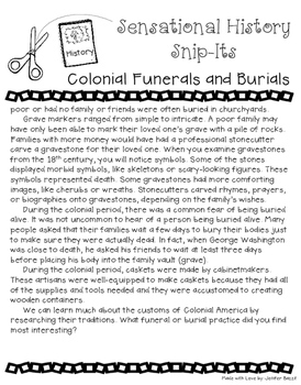 Sensational History Snip-Its Series - Colonial Burial Practices