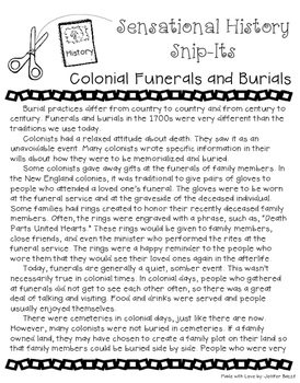 Colonial Burial Practices - Sensational History Snip-Its Series
