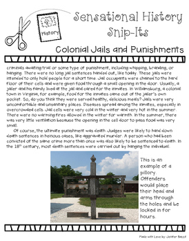 Colonial Jails and Punishments - Sensational History Snip-Its Series