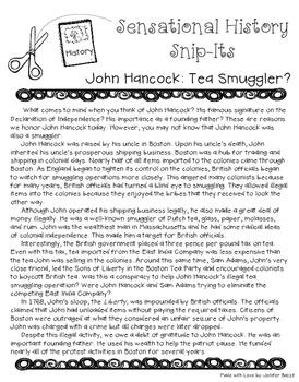 Sensational History Snip-Its Series - John Hancock: Tea Smuggler?