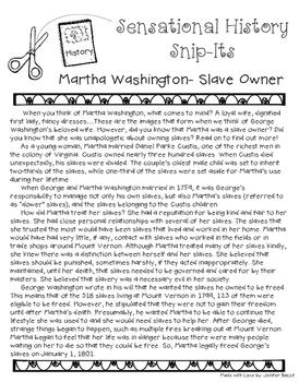 Sensational History Snip-Its Series - Martha Washington: Slave Owner