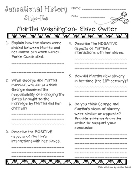 Martha Washington: Slave Owner - Sensational History Snip-Its Series