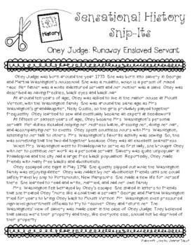 Sensational History Snip-Its Series - Oney Judge: Runaway Slave Girl