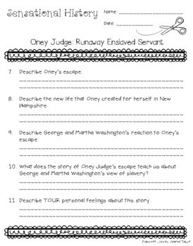 Oney Judge: Runaway Slave Girl - Sensational History Snip-Its Series