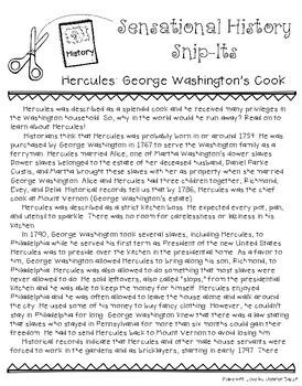 Sensational History Snip-Its Series - The Story of Hercules: Enslaved Cook
