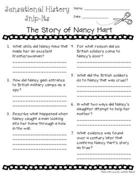 Sensational History Snip-Its Series - The Story of Nancy Hart
