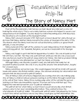 The Story of Nancy Hart - Sensational History Snip-Its Series