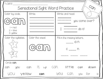 Sensational Sight Words {Pre Primer}