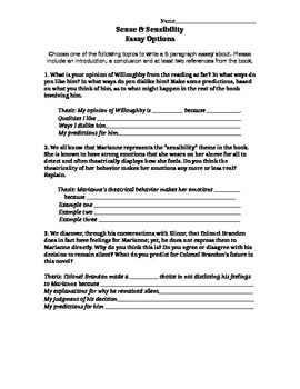 Sense & Sensibility Essay Prompt Pack
