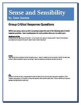 Sense and Sensibility - Austen - Group Critical Response Questions
