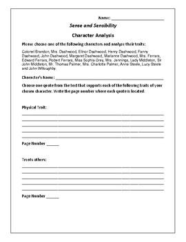 Sense and Sensibility - Character Analysis Activity - Jane Austen