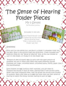 Sense of Hearing Folder Printable