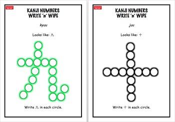Sensei-tional Classrooms Kanji Wipe 'n' Write: Japanese Numbers 1-10