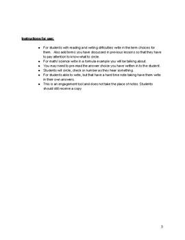 Senses- Note Taking Engagement Worksheet