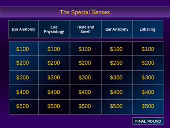 Senses Powerpoint Review Game