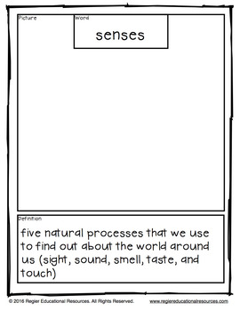 Senses Tiered Vocabulary Booklets
