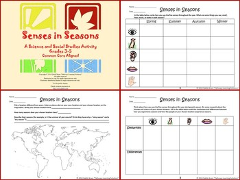 Senses in Seasons: A Science/Social Studies Activity {Common Core Aligned}