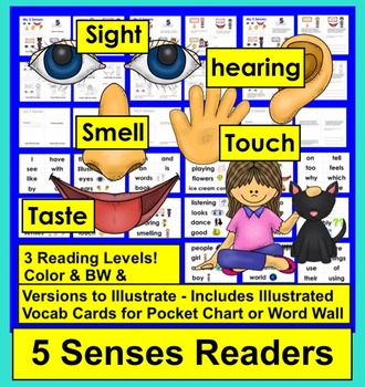 Five Senses Readers - 3 Reading Levels + Illustrated Word Wall