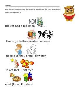 Sensible Owl Reading Strategy Worksheet Activity