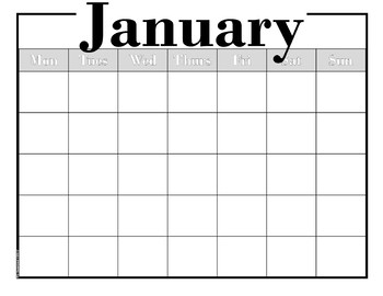 Sensibly Simple-- EDITABLE Calendar -- Bk &Wh --No dates -- No Clip Art