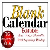 Calendar -- EDITABLE --Black & White --No dates -- No Clip Art