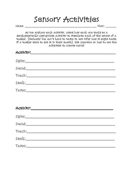 Sensory Activities-Child Development/FACS