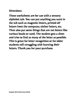 Sensory Alphabet Tub Worksheets