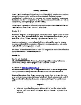 Sensory Awareness Unit for Secondary Theater or ELA