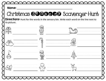 Sensory Bin Scavenger Hunt: Christmas