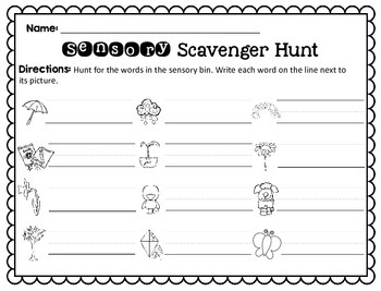 Sensory Bin Scavenger Hunt: Spring