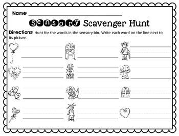 Sensory Bin Scavenger Hunt: Valentine's Day