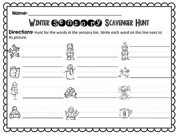 Sensory Bin Scavenger Hunt: Winter