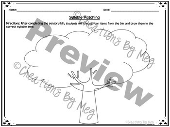 Sensory Bin - Syllable Practice for Kindergarten and First Grade