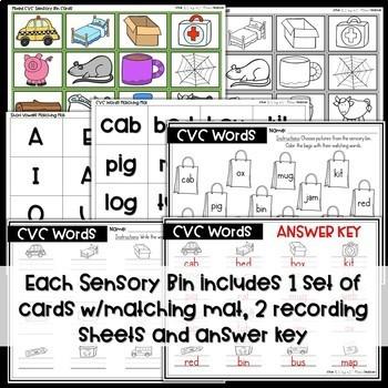 CVC Short Vowels Sensory Bins