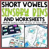 CVC Short Vowel Worksheets and Sensory Bins