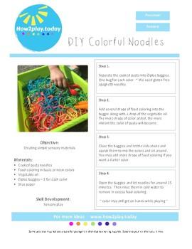 Sensory Bins - DIY Colorful Noodles