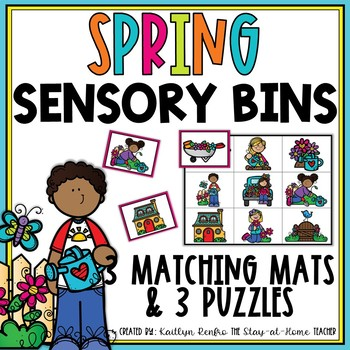 Spring Sensory Bin Matching Mats and Puzzles