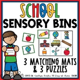 Back to School Sensory Bin Matching Mats and Puzzles