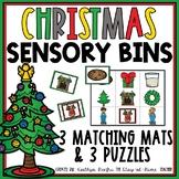 Christmas Sensory Bin Matching Mats and Puzzles