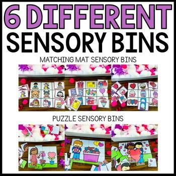 Valentine's Day Sensory Bin Matching Mats and Puzzles