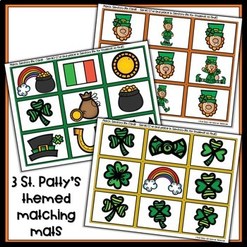 St. Patrick's Day Sensory Bin Matching Mats and Puzzles